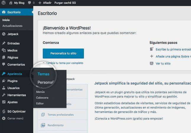 personalización del tema de wordpress